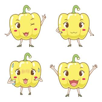 Conjunto de pimentos bonitos dos desenhos animados em poses diferentes.