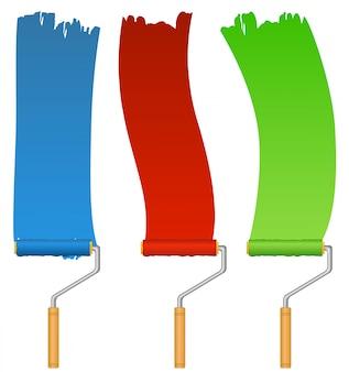 Conjunto de pincéis coloridos de azuis, vermelhos e verdes