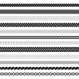 Conjunto de pincéis de corda padrão de tranças corda grossa ou elementos de arame