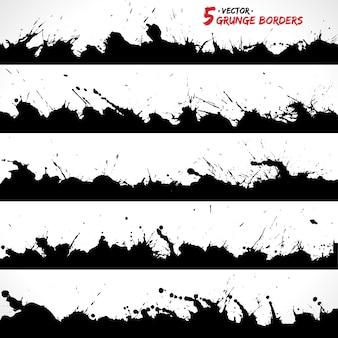 Conjunto de pincéis de fronteiras do grunge.
