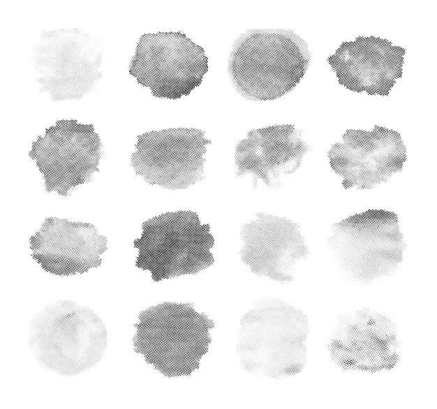 Conjunto de pincéis de vetor de carimbo de meio-tom.
