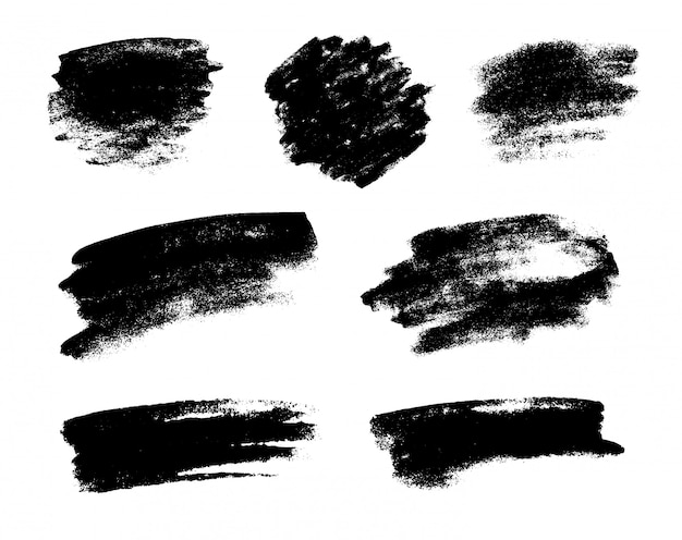 Conjunto de pincéis de vetor preto grunge