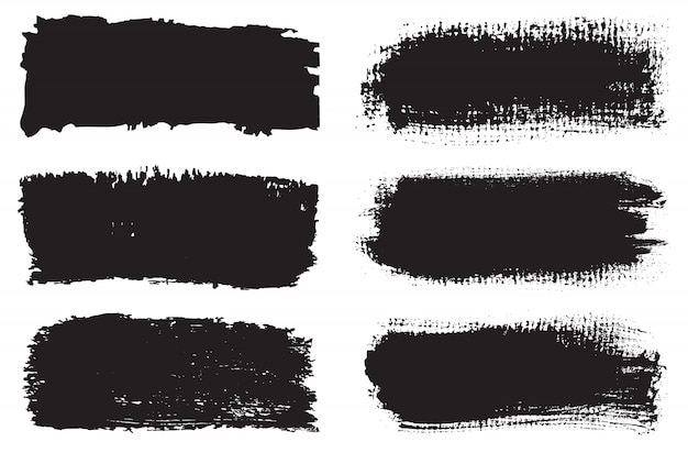 Conjunto de pincéis grunge preto