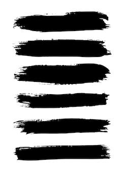 Conjunto de pincéis grunge traçados traçados de tinta com um pincel seco manchas de tinta abstratas