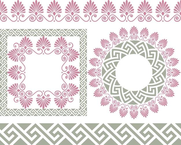 Conjunto de pincéis para criar os padrões meandro grego e molduras redondas e quadradas.