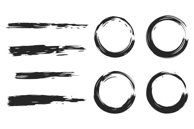 Conjunto de pincéis preto círculo e grunge isolado em um fundo branco.