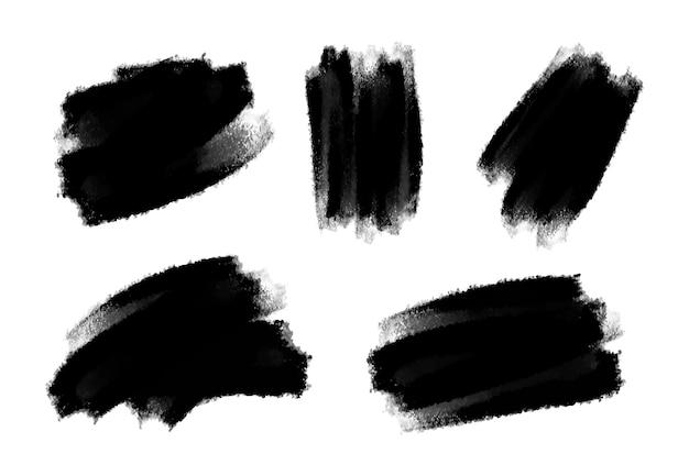 Conjunto de pincel aquarela preto abstrato