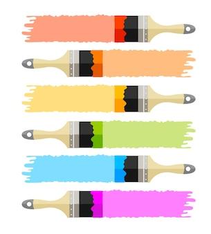 Conjunto de pincel colorido multicolorido com listras de tinta