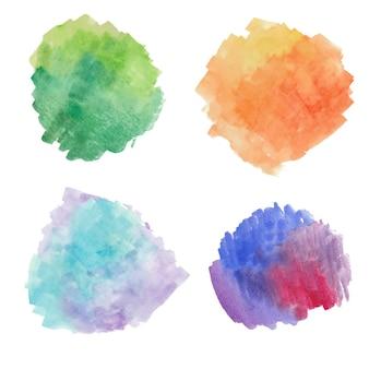 Conjunto de pincel misto de aquarela desenhado à mão