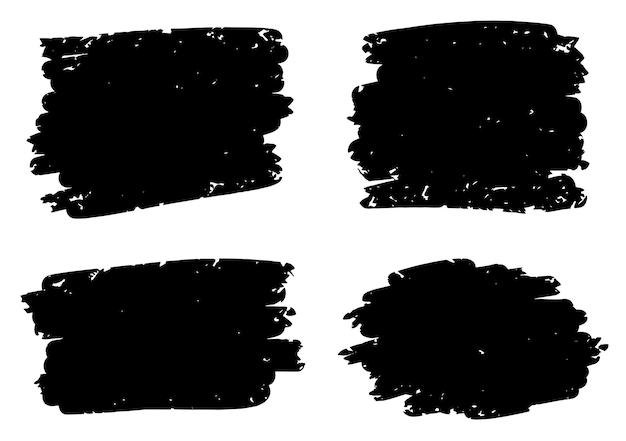 Conjunto de pincel preto grunge angustiado