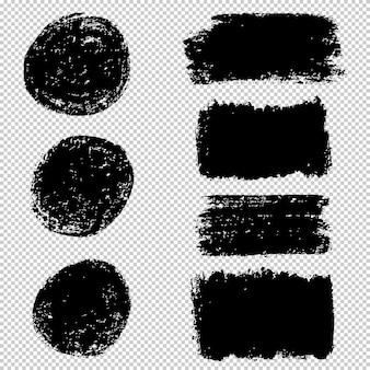 Conjunto de pinceladas. coleção de elemento gráfico desenhado mão escova. fundo grunge.