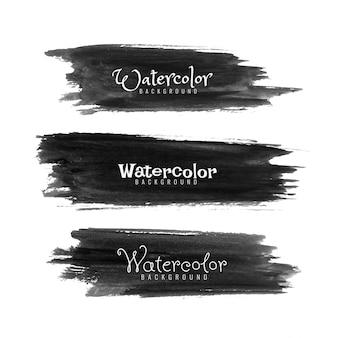 Conjunto de pinceladas de aquarela pretas abstratas
