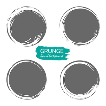Conjunto de pinceladas de círculo, quadros de vetor de grunge. elementos vintage e retro de design desenhado à mão