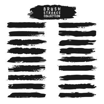 Conjunto de pinceladas de grunge. coleção de tinta preta vetorial, conjunto de pinceladas de tinta vetorial