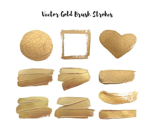 Conjunto de pinceladas de ouro, moldura de contorno círculo ouro coração. elemento de textura.