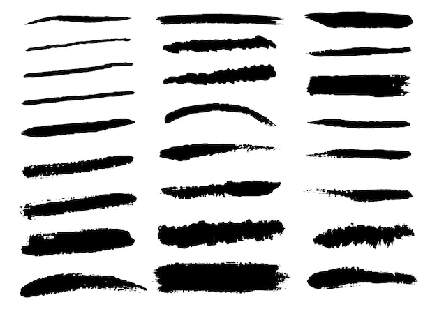 Conjunto de pinceladas de preto. mão desenhada isolado