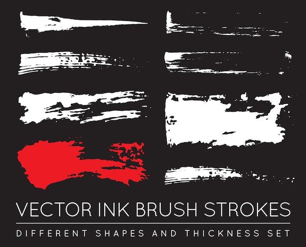 Conjunto de pinceladas de tinta de caneta preta de vetor. traçado de pincel de tinta grunge. traçado de pincel sujo.