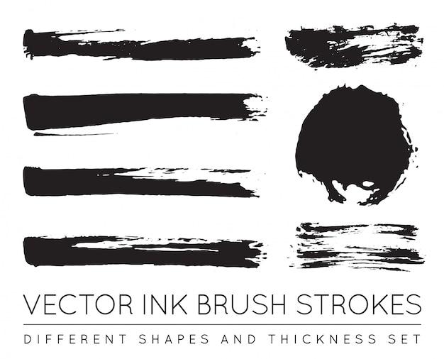 Conjunto de pinceladas de tinta de caneta preta. traçado de pincel de tinta grunge. traçado de pincel sujo.