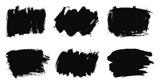Conjunto de pinceladas de tinta preta Vetor Premium
