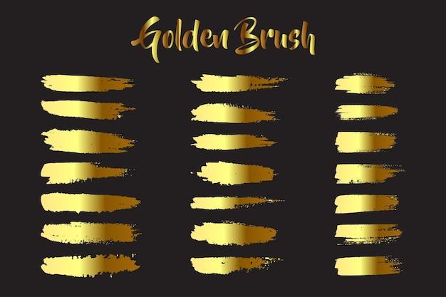 Conjunto de pinceladas douradas para aquarela artesanal