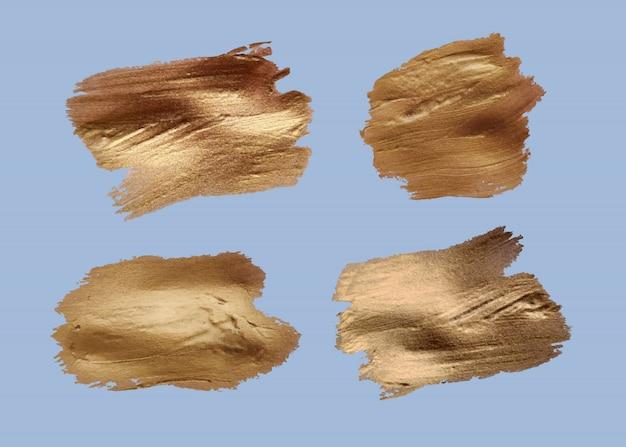 Conjunto de pinceladas. elementos de design do grunge. tinta dourada, tinta, pincéis, linhas, grungy. caixas artísticas sujas, quadros. linhas de ouro isoladas. ouro abstrato que brilha a ilustração textured da arte.