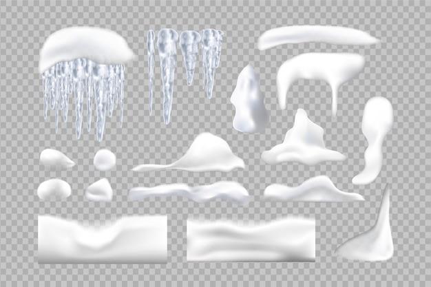 Conjunto de pingentes de gelo nevados e bonés em fundo de inverno. decorações sazonais de inverno