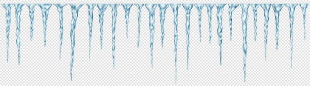 Conjunto de pingentes de gelo realistas em azul claro translúcido de comprimentos diferentes em transparente