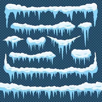 Conjunto de pingentes de neve dos desenhos animados