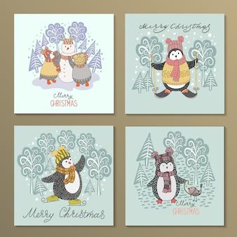 Conjunto de pinguins bonito mão desenhada