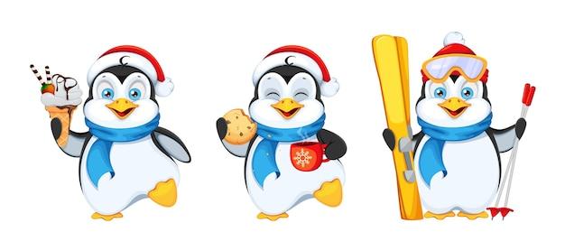 Conjunto de pinguins com três poses feliz natal e feliz ano novo