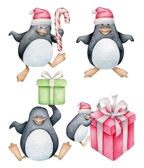 Conjunto de pinguins de desenho animado pinguins de natal com chapéu de papai noel com presentes de natal e doces