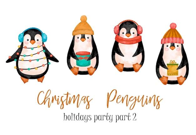Conjunto de pinguins de natal em chapéu de clipart