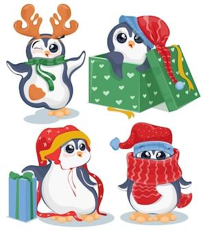 Conjunto de pinguins de natal