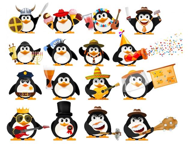 Conjunto de pinguins fofos. jovens pinguins de diferentes profissões com objetos