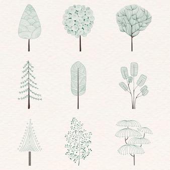 Conjunto de pinheiro fofo