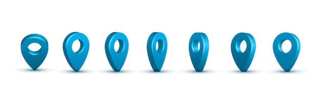 Conjunto de pinos de mapa realistas em azul brilhante