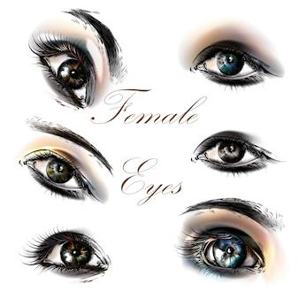 Conjunto de pintados à mão olhares femininos