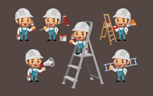 Conjunto de pintor com diferentes poses