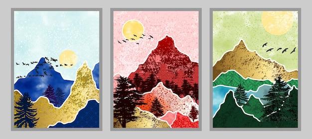Conjunto de pintura abstrata de montanha. fundo da arte abstrata. vetores premium