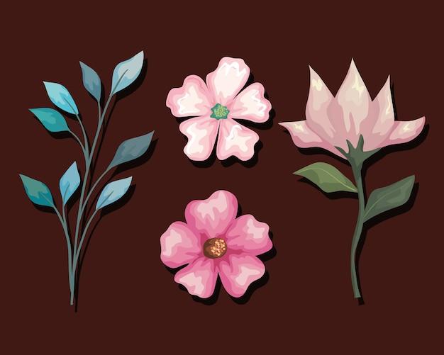 Conjunto de pintura de flores e folhas, ornamento de planta de natureza floral natural, decoração de jardim e ilustração de tema de botânica