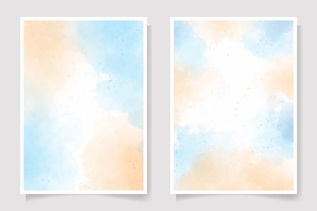 Conjunto de pintura em aquarela azul e laranja