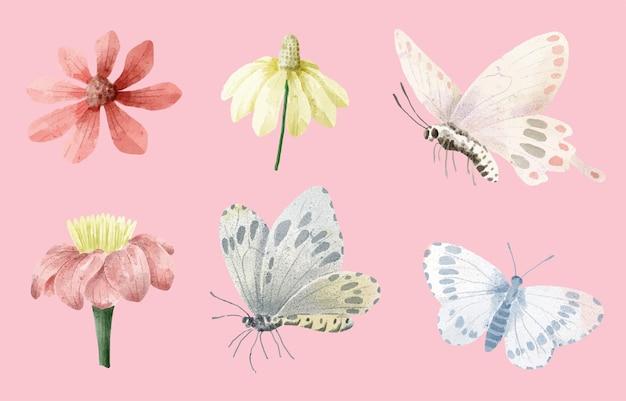 Conjunto de pintura em aquarela de borboleta e flor