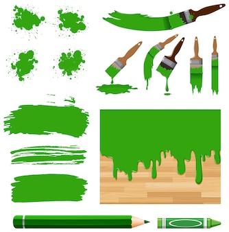 Conjunto de pintura em aquarela em verde com equipamentos