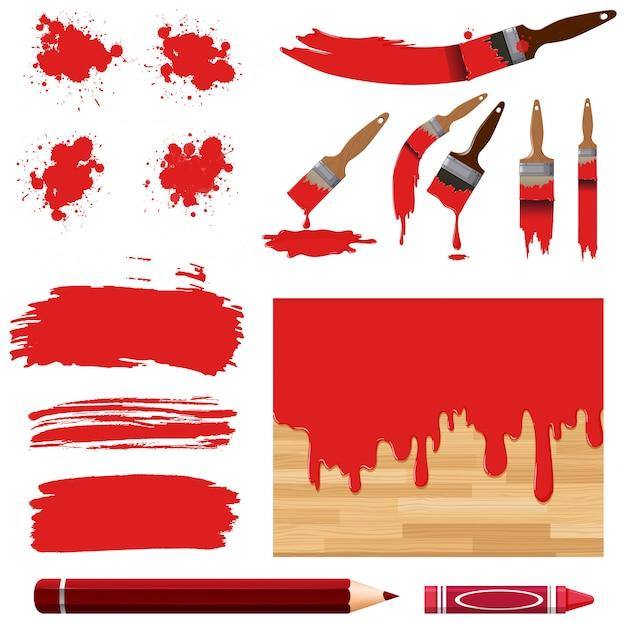 Conjunto de pintura em aquarela em vermelho com equipamentos