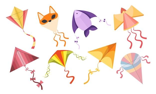 Conjunto de pipas, desenhos animados coloridos de anjo, peixes ou brinquedos voadores de raposa feitos de papel ou tecido. criança brincando com objetos para jogar