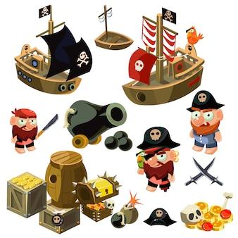 Conjunto de pirata. ilustração.