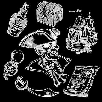 Conjunto de piratas à mão livre para o seu design.