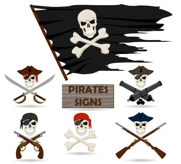 Conjunto de piratas isolado em fundo branco