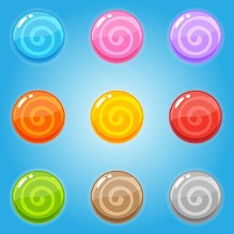 Conjunto de pirulito doce em forma de círculo.