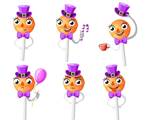 Conjunto de pirulitos de laranja. personagem de estilo. pirulito com chapéu e gravata borboleta. ilustração em fundo branco. página do site e aplicativo móvel